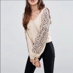 Free People Senorita Embroidered V-neck Pullover